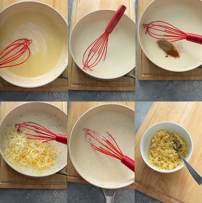 Collage of images on how to make the creamy sauce for the cauliflower gratin and the topping