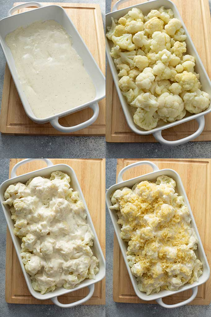 Collage of images on assembling the  cauliflower casserole