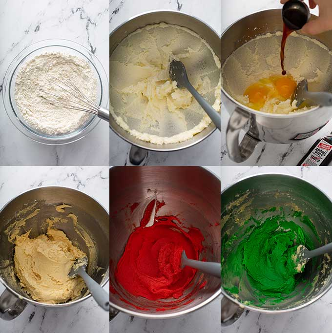 Photo collage on how to make this Christmas sugar cookie dough and colored dough in red and green