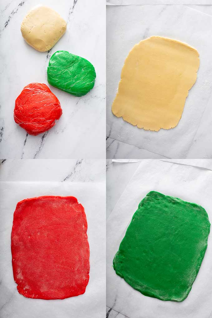 Image collage of sugar cookie dough in green, color and regular dough wrapped in plastic wrap plus flattened dough on parchment paper.