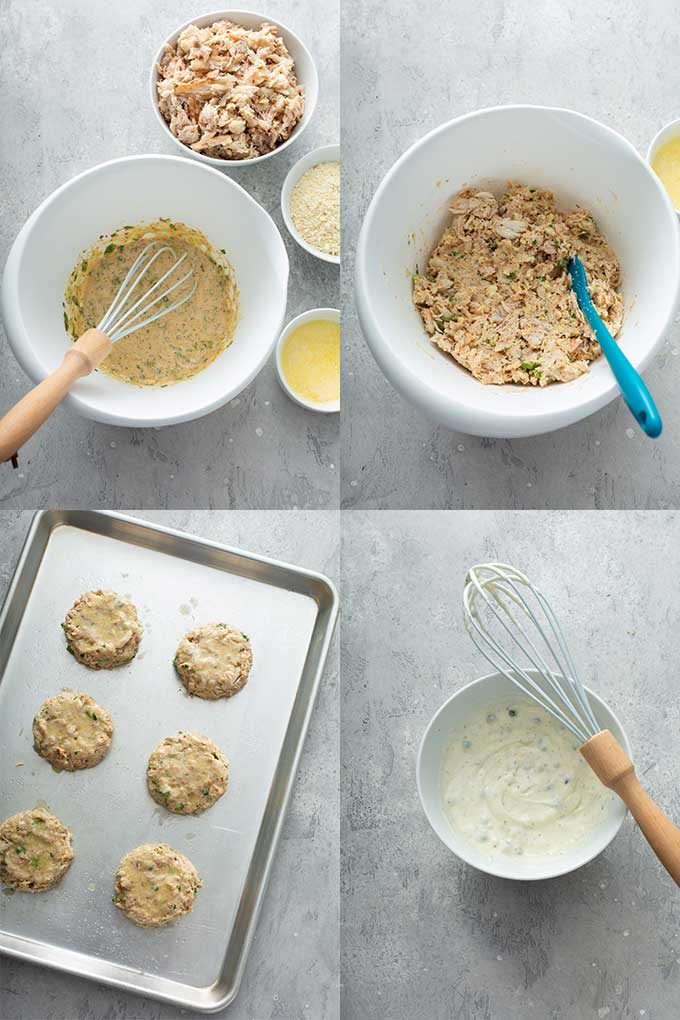 Step by step photos on how to make crabcakes