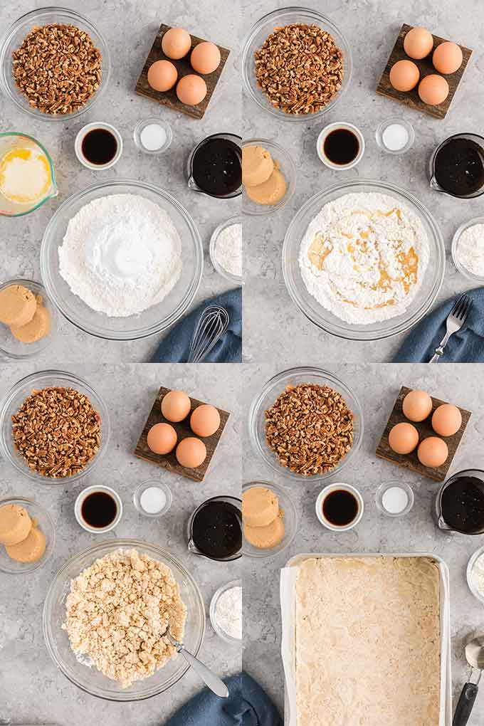 Image collage on how to make the pecan pie squares crust
