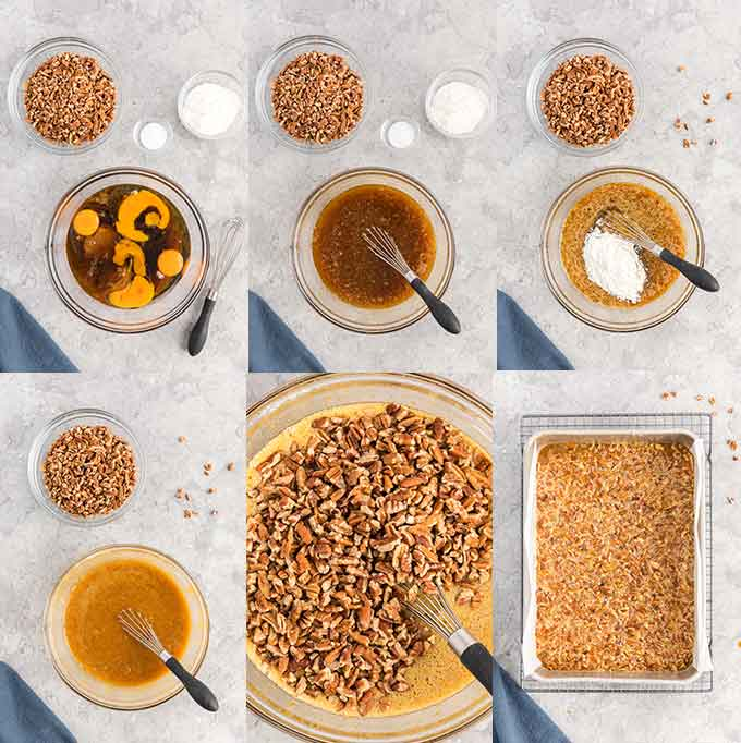 Image collage on how to make the pecan pie bar filling