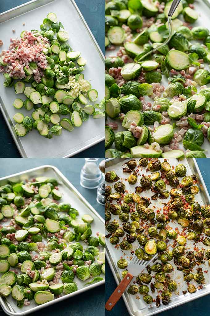 Step by step photo collage on how to roast Brussels sprouts in the oven.