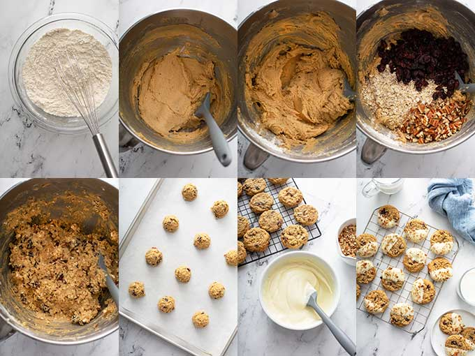 Collage of photos on how to make cranberry oatmeal cookies