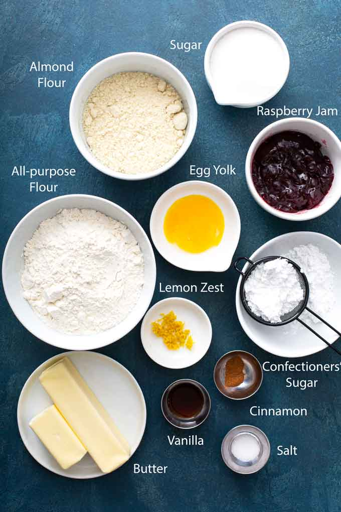 Ingredients to make these easy Linzer cookies