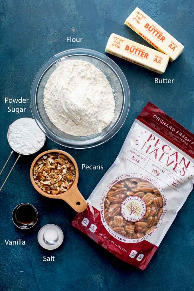 Ingredients to make Mexican wedding cookies