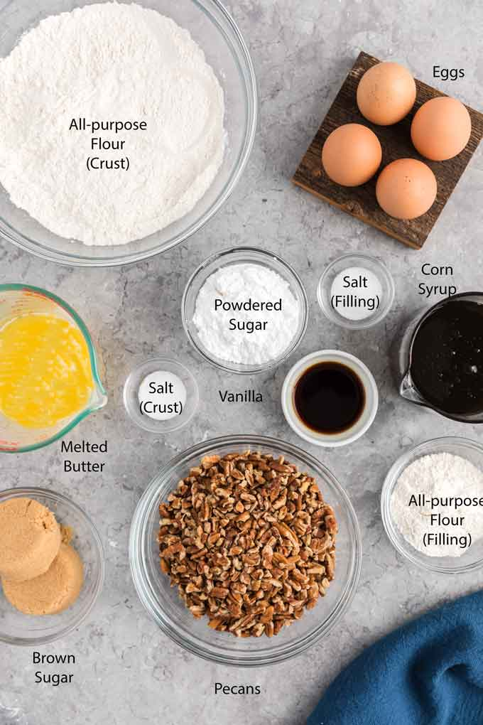 Ingredients to make pie bars
