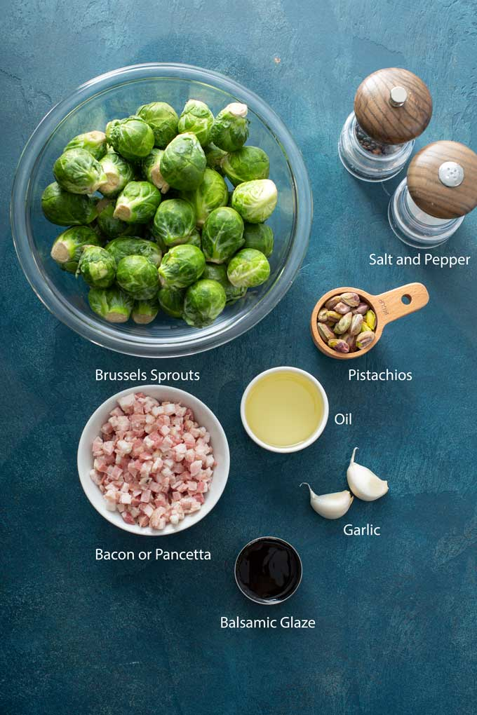 Ingredients to make Roasted Brussels Sprouts with Bacon or pancetta
