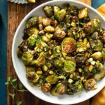 Roasted Brussels sprouts in a bowl.