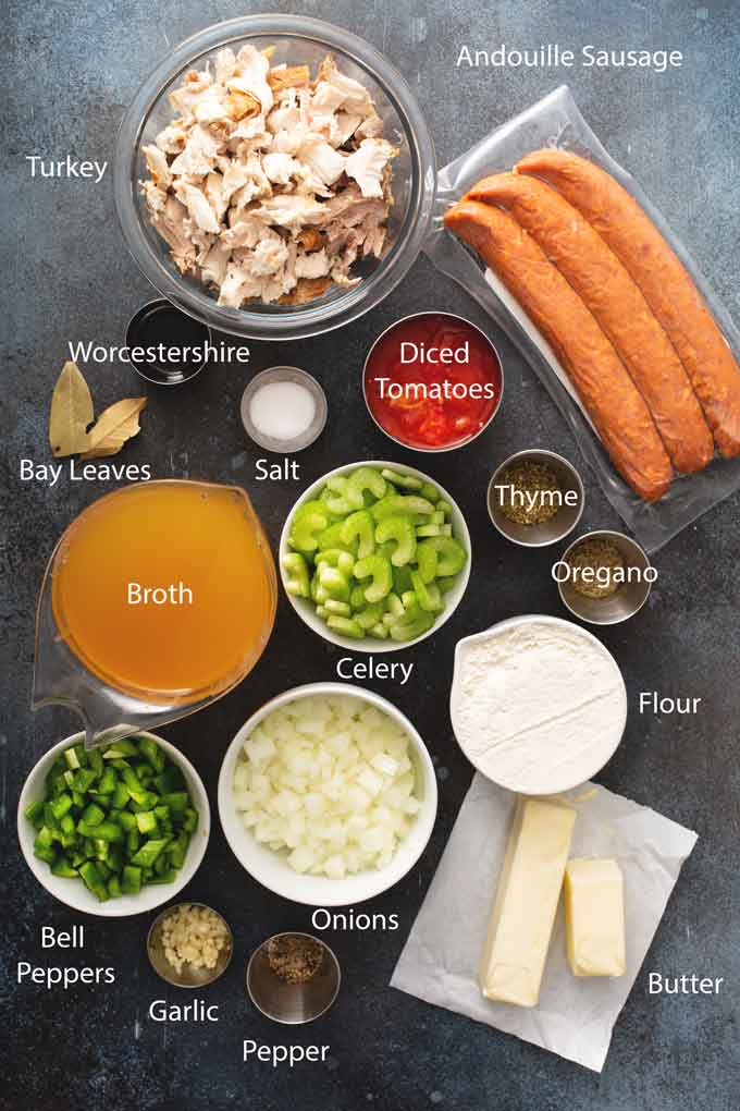 Ingredients to make the best Cajun Turkey gumbo.