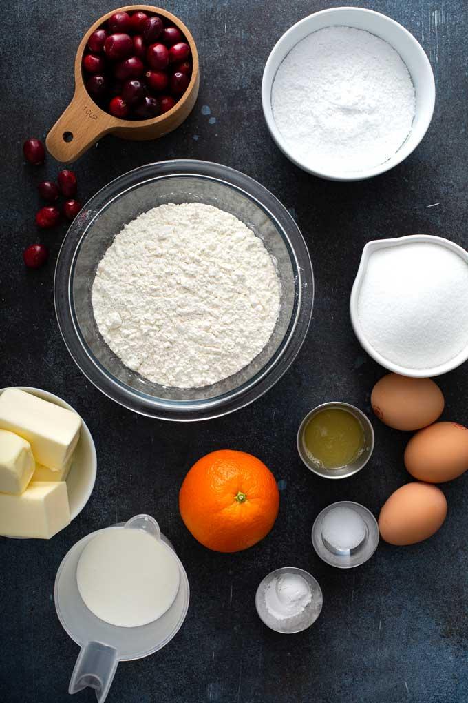Ingredients to make cranberry orange bread recipe.
