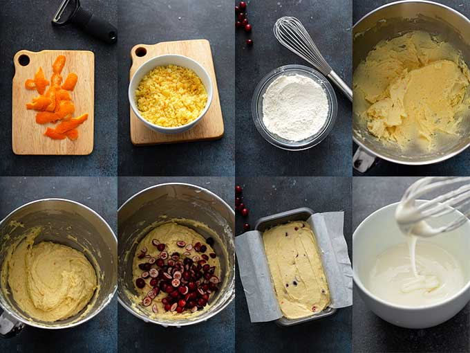 Step by step instructions for making orange cranberry bread