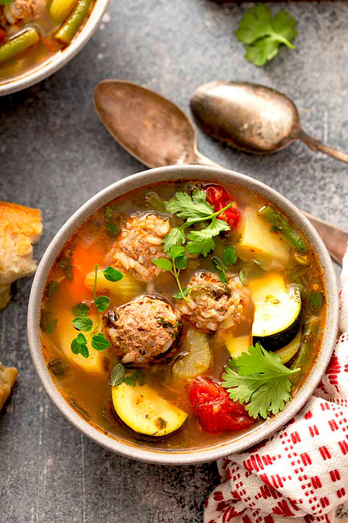 Top view of a bowl of Mexican style Meatballs soup