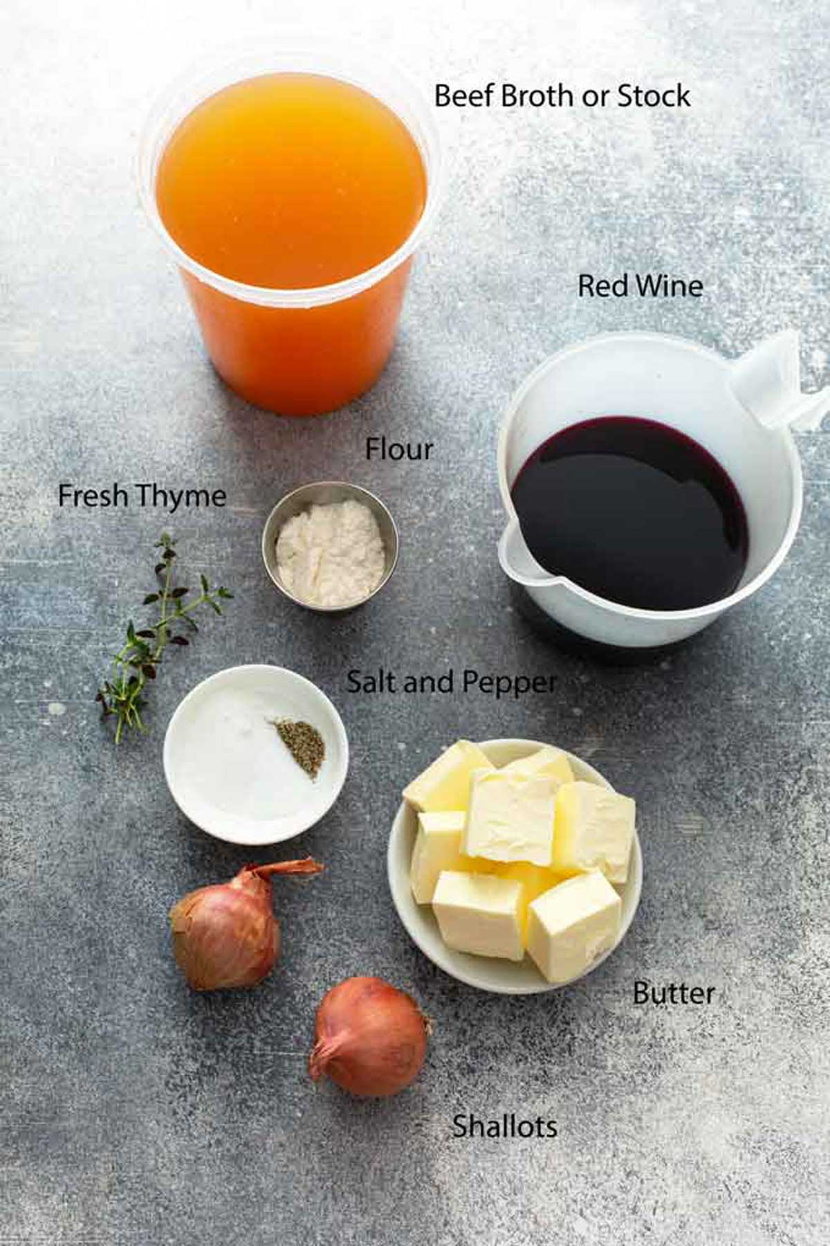 Ingredients to make red wine butter sauce.