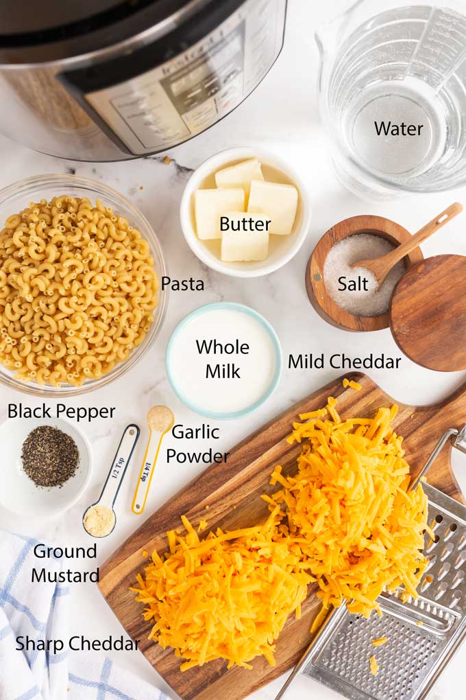 Ingredients to make Instant pot macaroni and cheese