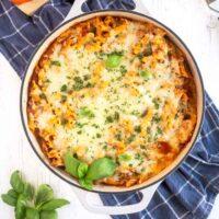 Chicken Parmesan Pasta in a skillet