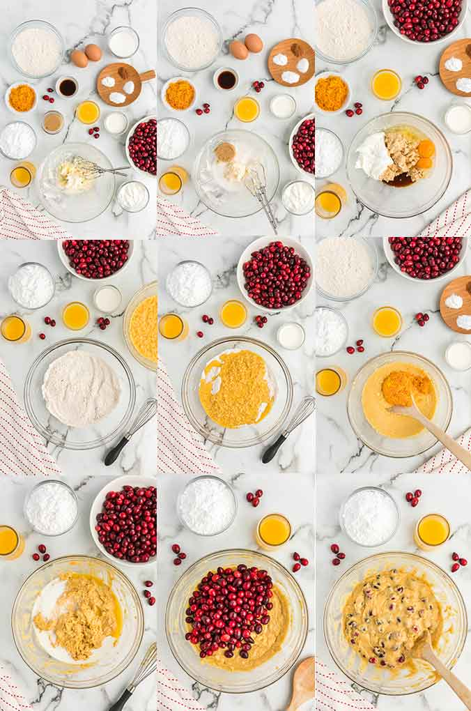 Step by step photos on how to make cranberry muffins.