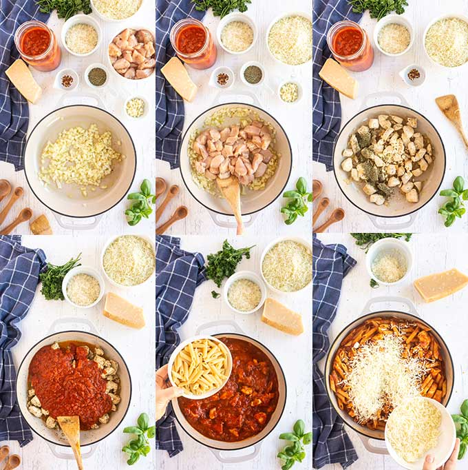 Step by step photos on how to make one-pot Chicken Parmesan Pasta