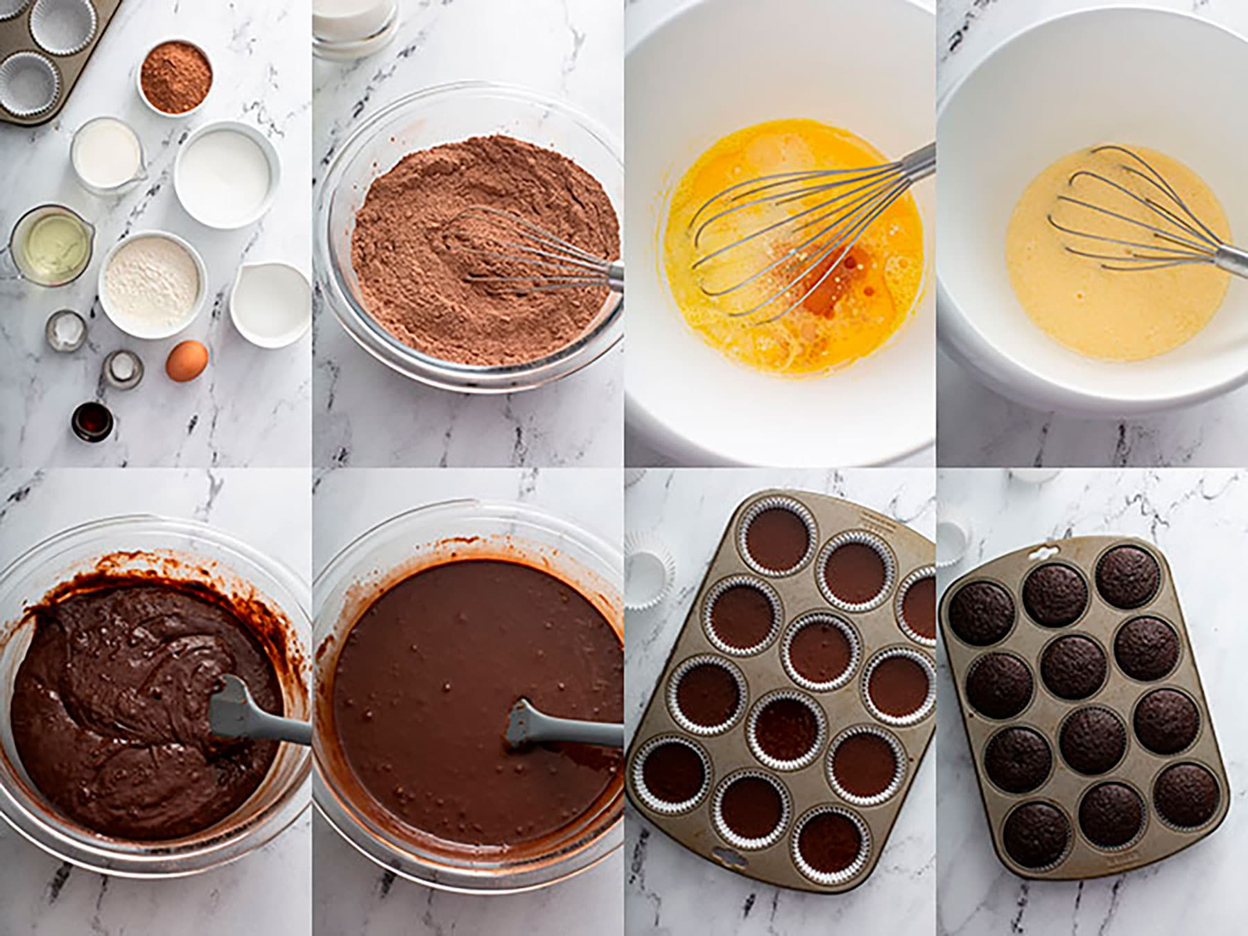 Step by step photos on how to make chocolate cupcakes