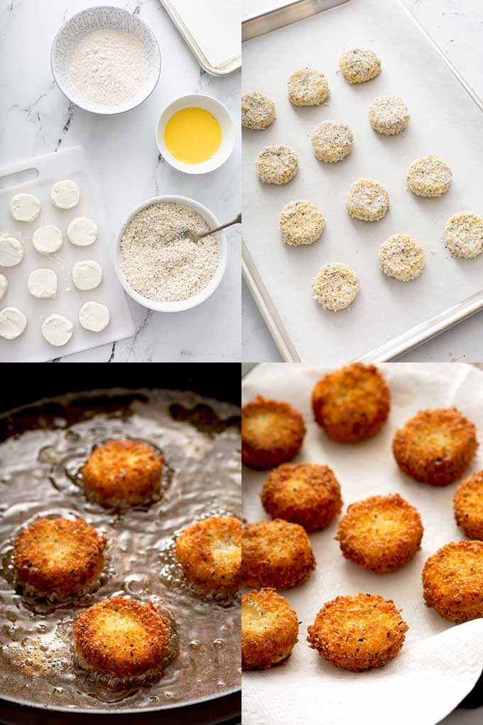step by step photos on how to make fried goat cheese.