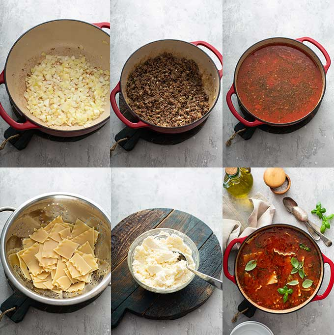 step by step photos on how to make lasagna soup
