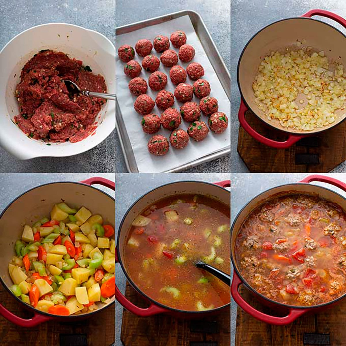 Step by step photos on how to make albondigas soup
