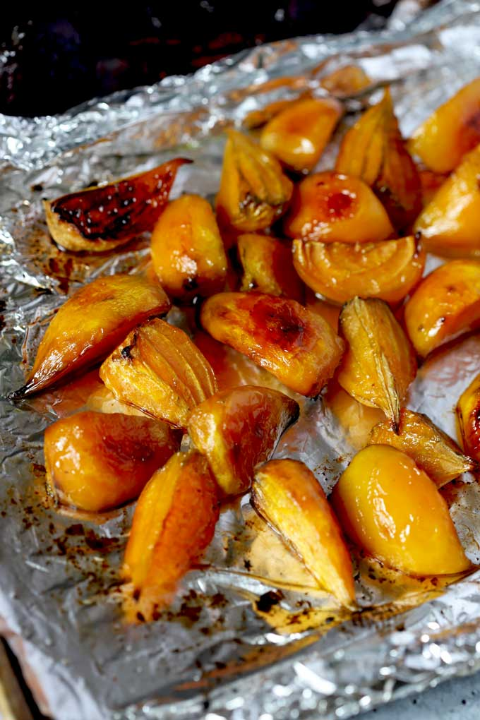 Roasted golden beets on a sheet pan