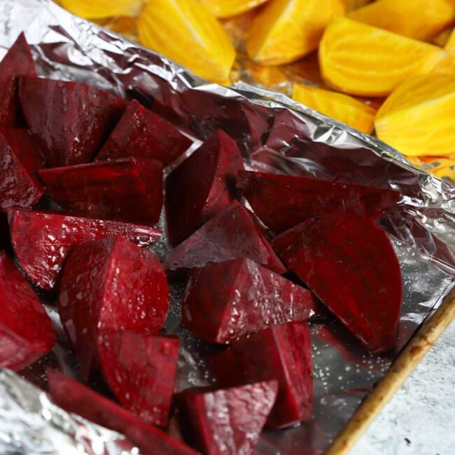 Cut beets on a sheet pan