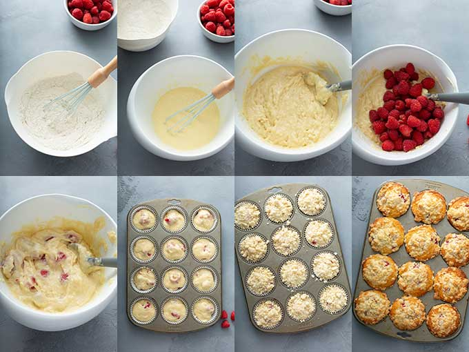 Step by step photos on how to make this easy raspberry muffin recipe