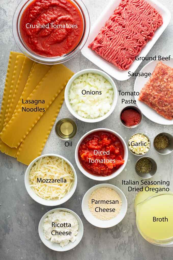 Ingredients to make lasagna soup recipe