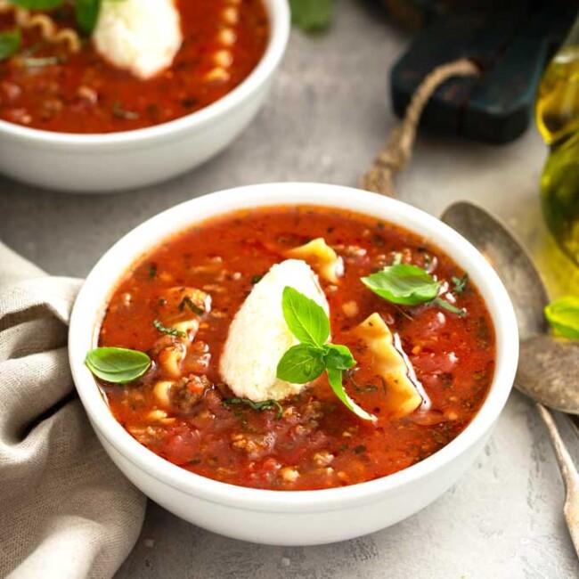 A bowl of rich lasagna soup