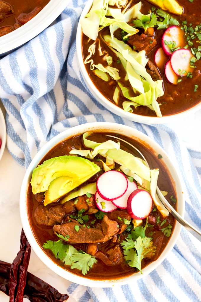 A couple of bowls of Red pork pozole.