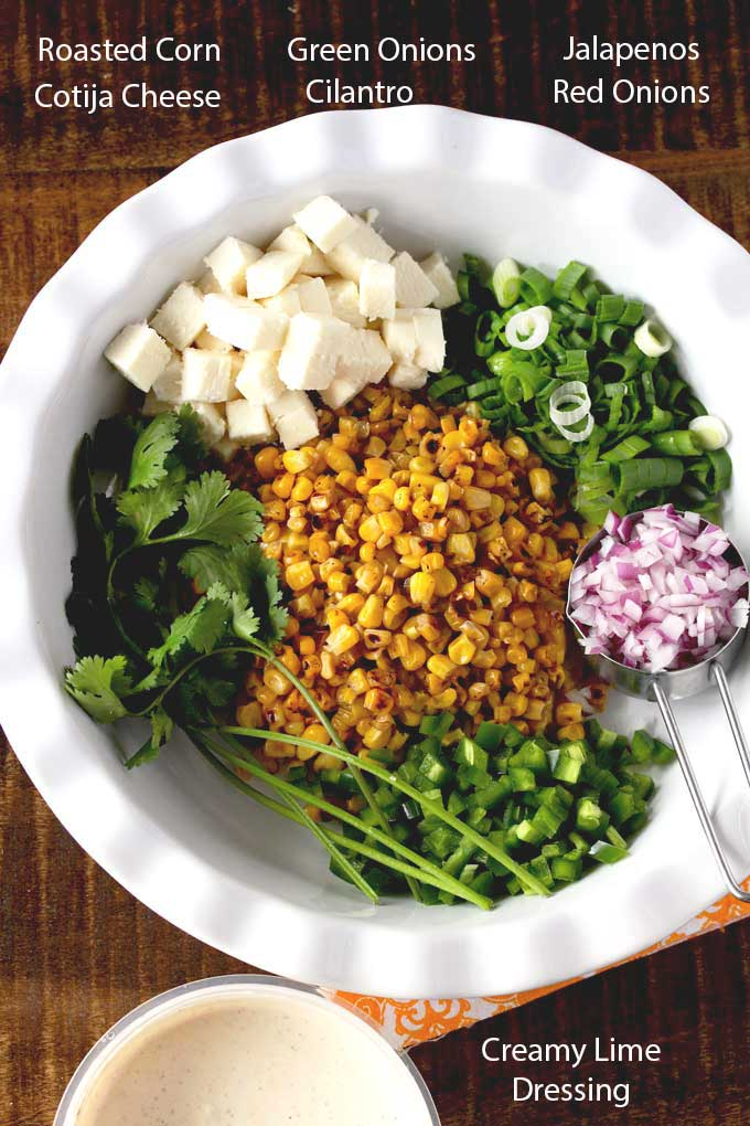 Ingredients to make Mexican corn salad