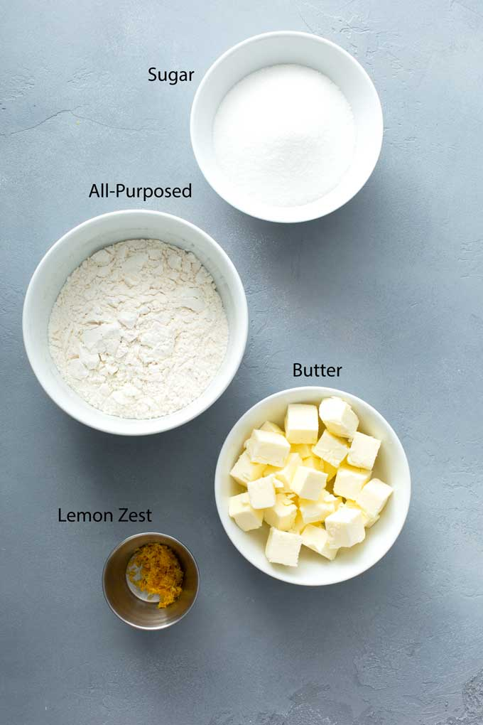 Ingredients to make streusel for raspberry muffins.