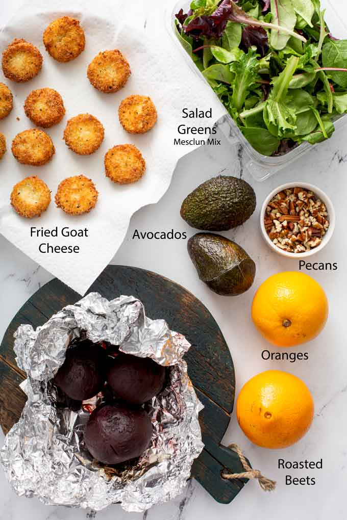 Ingredients to make Roasted beet salad with crispy goat cheese