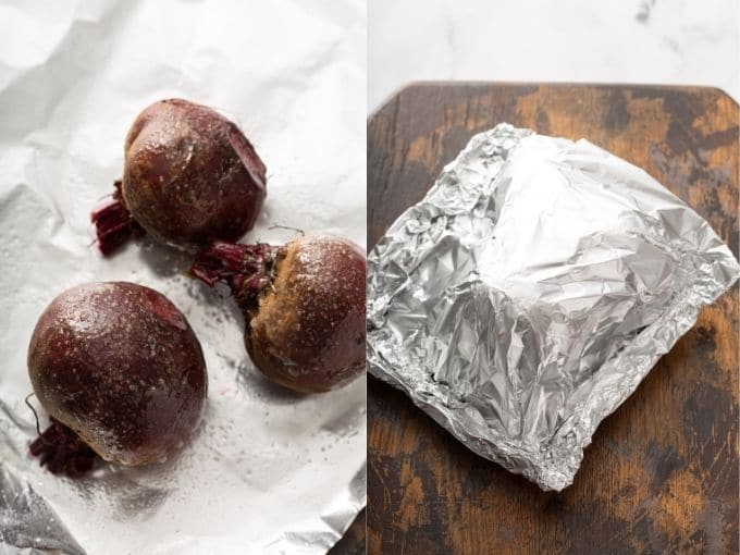 Seasoned raw beets on aluminum foil and pouch with beets