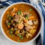A bowl of Instant Pot beef and barley soup