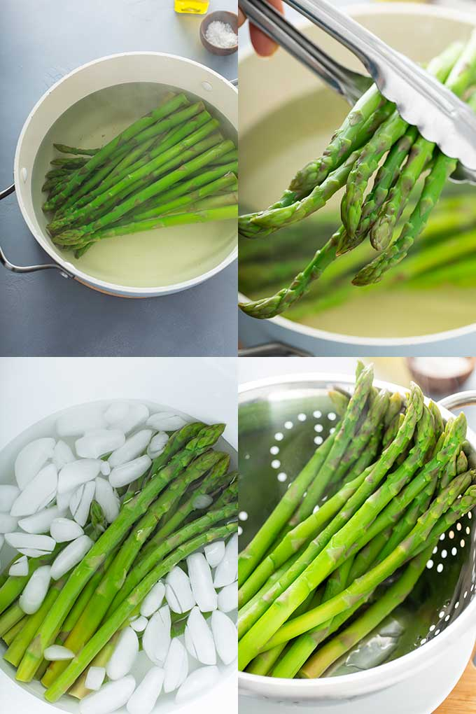 Step by step images on how to blanch asparagus