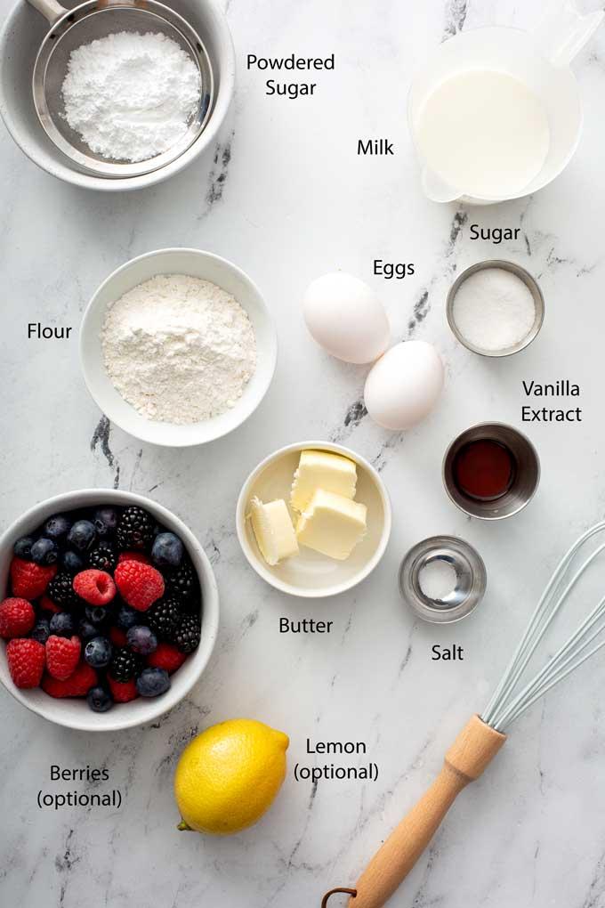 Ingredients to make Dutch pancakes