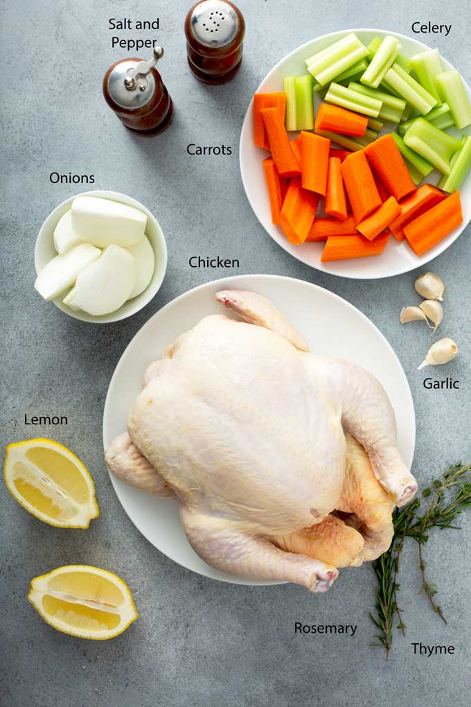 Ingredients to make roasted chicken.