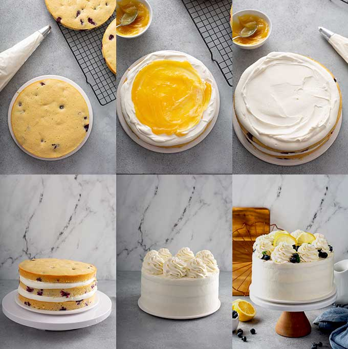 Step by step images on how to assemble the lemon layered cake