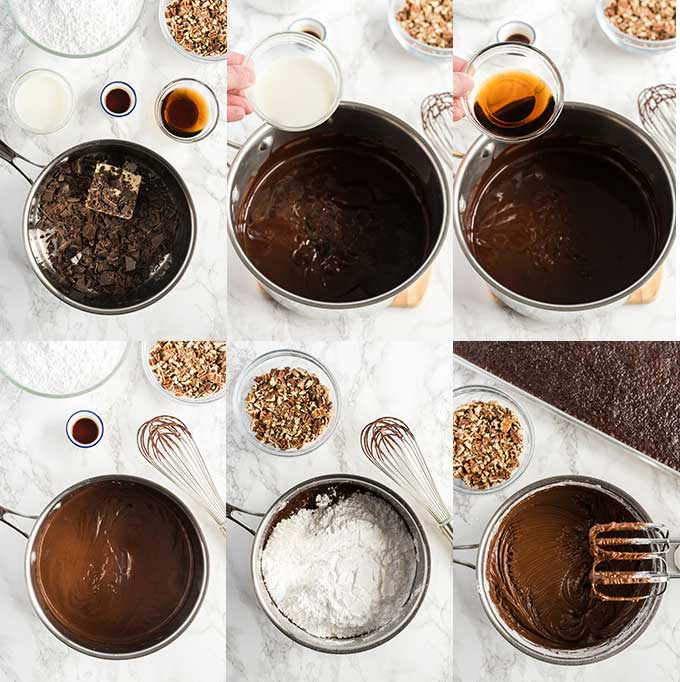 Collage of images on how to make Cola Chocolate frosting