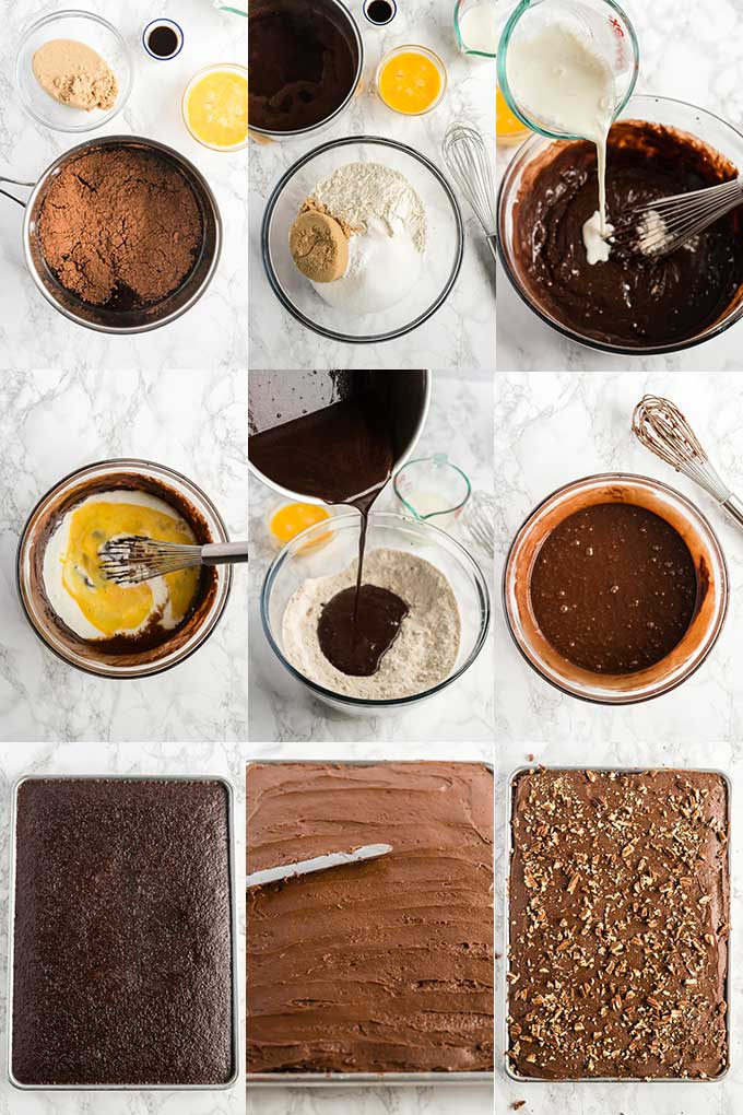 Collage of images on how to make coke cake