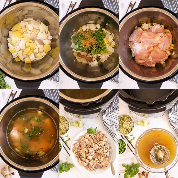 Step by step images of how make Chicken Pho soup in the Instant Pot