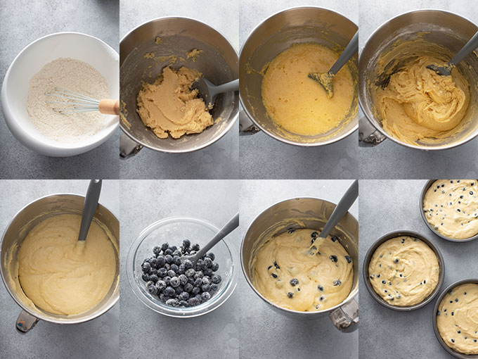 Step by step photos on how to make blueberry lemon cake