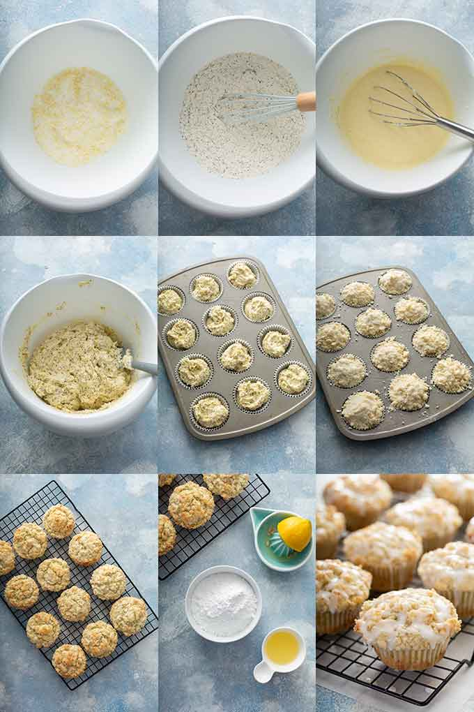 Step by step photos on how to make lemon poppy seed muffins