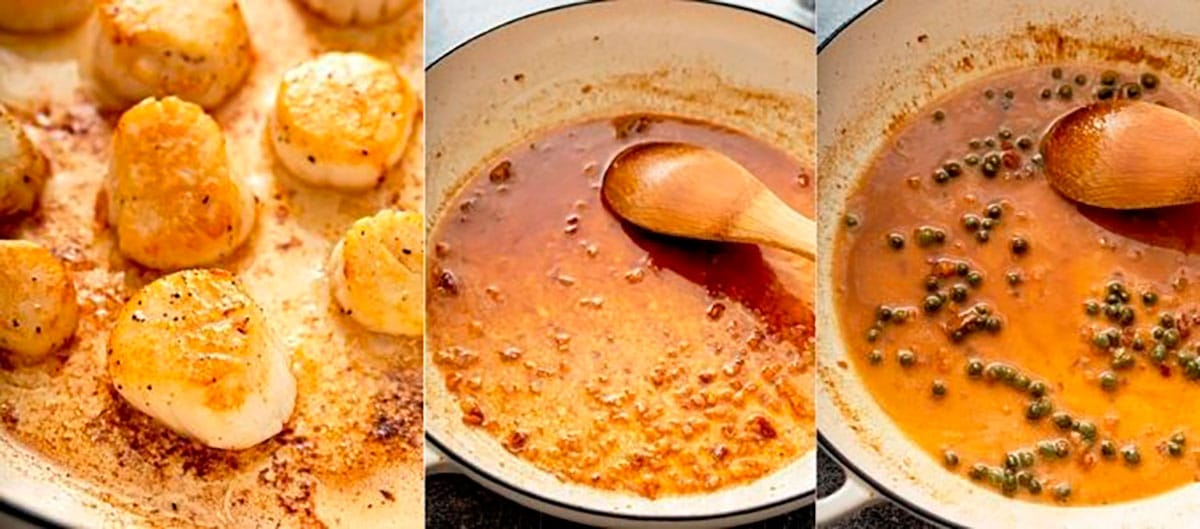 Photo collage showing seared scallops in a skillet, making the butter sauce and finishing the butter sauce.