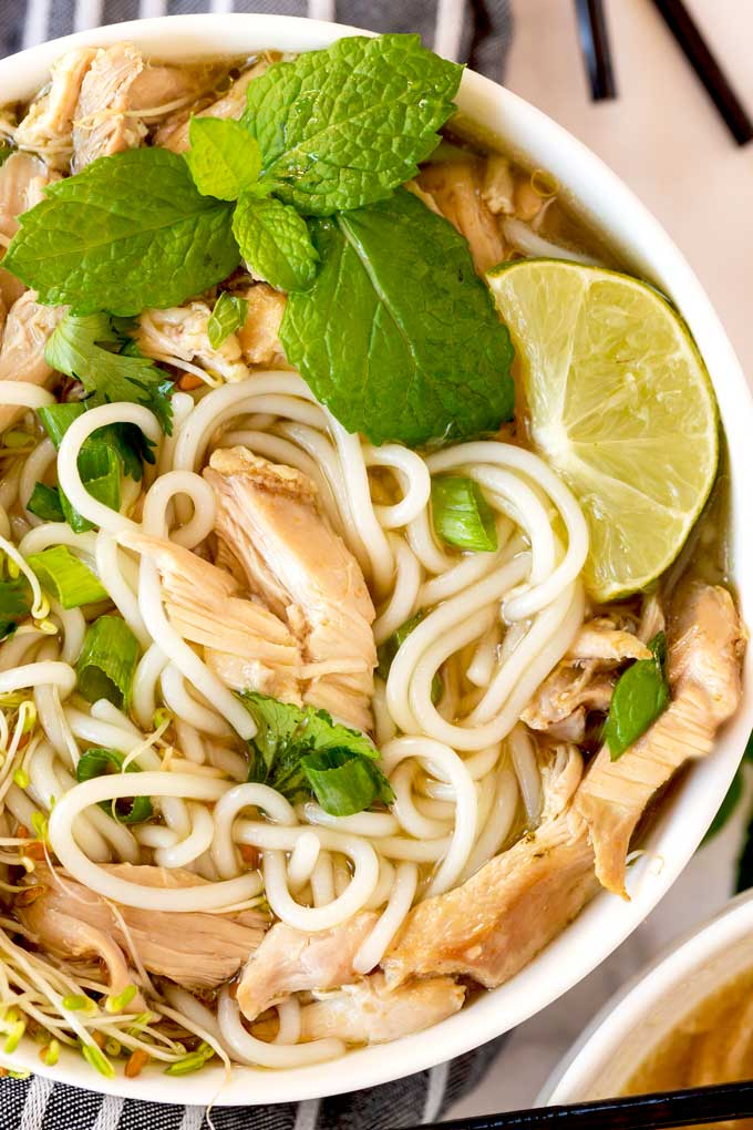 Top view of a bowl of Pho soup.