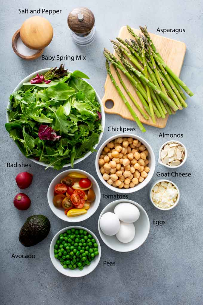Ingredients to make this asparagus salad